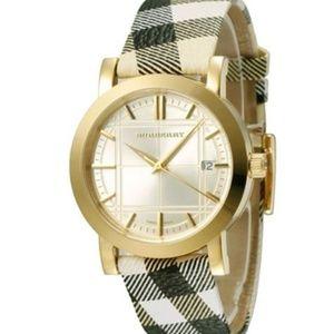 New Burberry Heritage Gold Bu1398 Unisex Watch